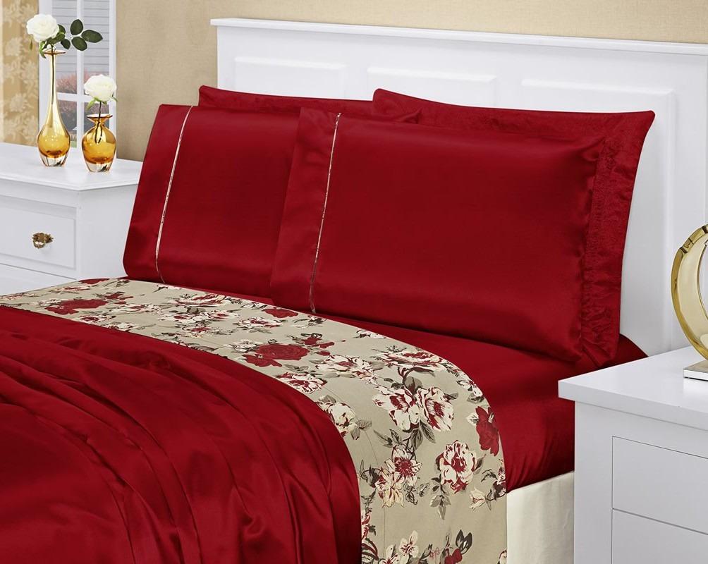 b06886b767 jogo de cama king lençol vermelho toque seda frete grátis. Carregando zoom.