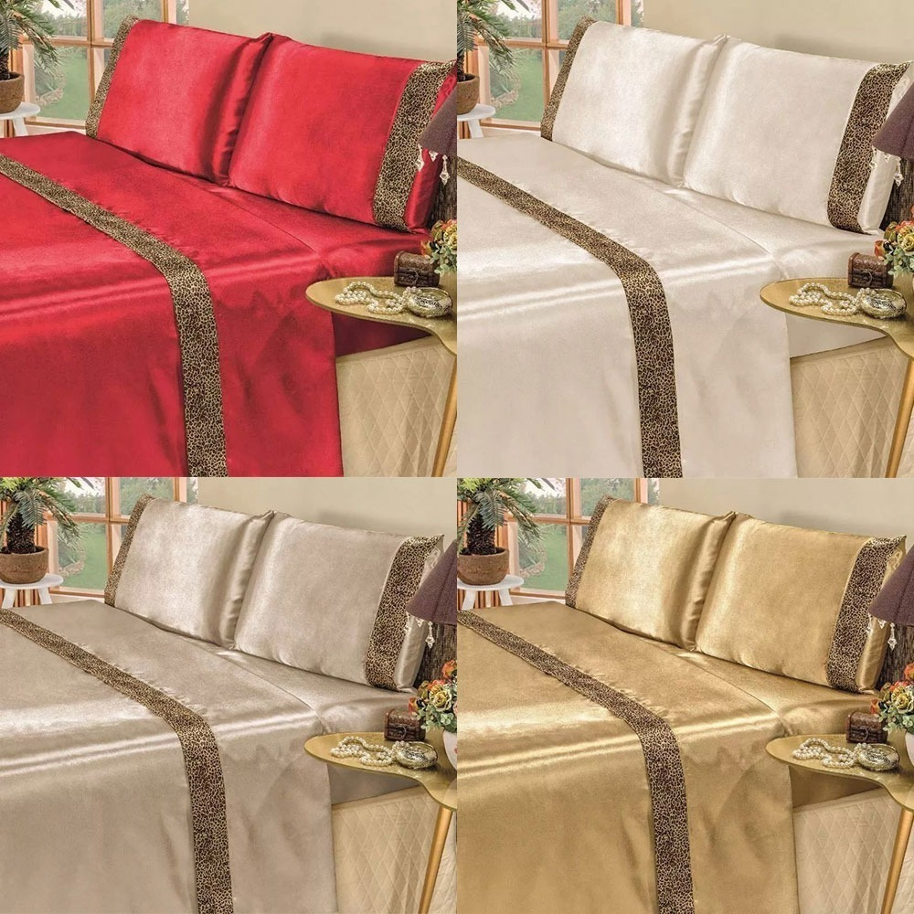 8223bf849d Carregando zoom... jogo de cama lençol casal queen 4 peças cetim safari  oncinha