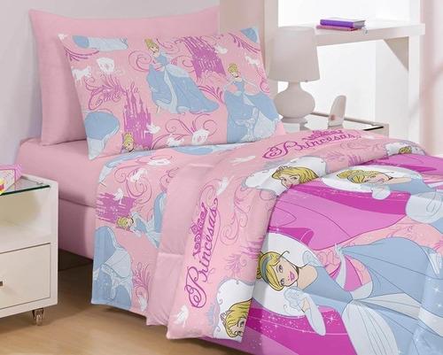4fe09f84d8 Jogo De Cama Lençol Princesas Cinderela Disney - R  74