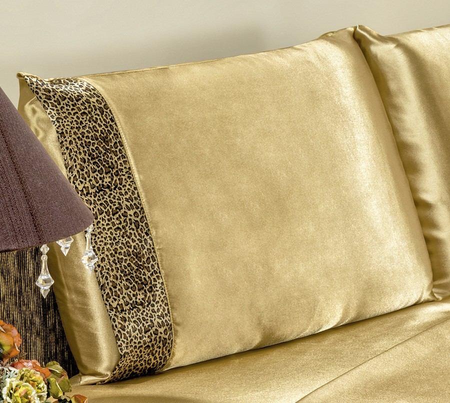 92d4b196e2 jogo de cama lençol safari cetim dourado oncinha queen 4 pçs. Carregando  zoom.