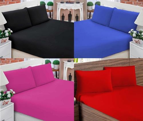 jogo de cama lençol varias cores com elástico queen 3 peças