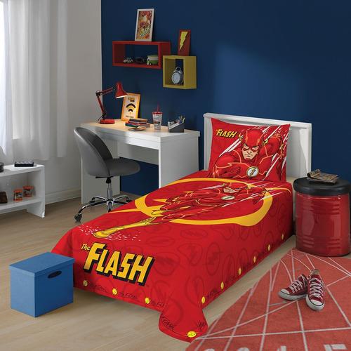 jogo de cama liga da justiça the flash 3 peças lepper