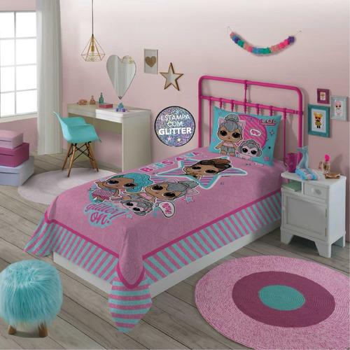 jogo de cama lol surprise com glitter 2 peças lepper