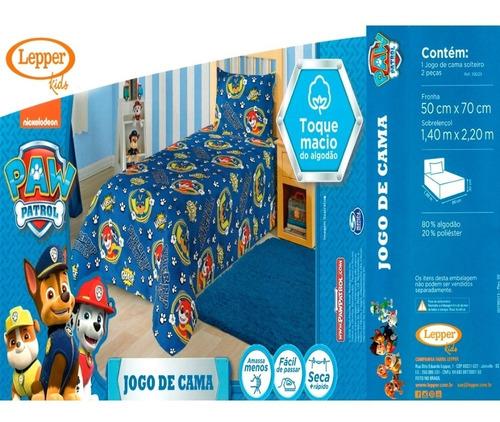 jogo de cama patrulha canina 2 peças lepper 1,40m x 2,20m