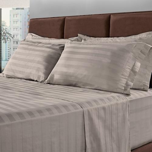 jogo de cama queen 300 fios 100% algodão 4 peças cinza bf