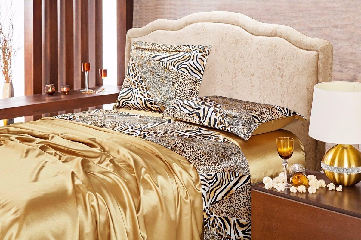 9b0e839b0a jogo de cama queen 4 pçs cetim dourado detalhe em onça. Carregando zoom.
