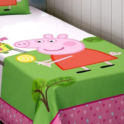 ef8e7a549 Jogo De Cama Solteiro Estampado Peppa Pig 3 Peças - Lepper - R  189 ...