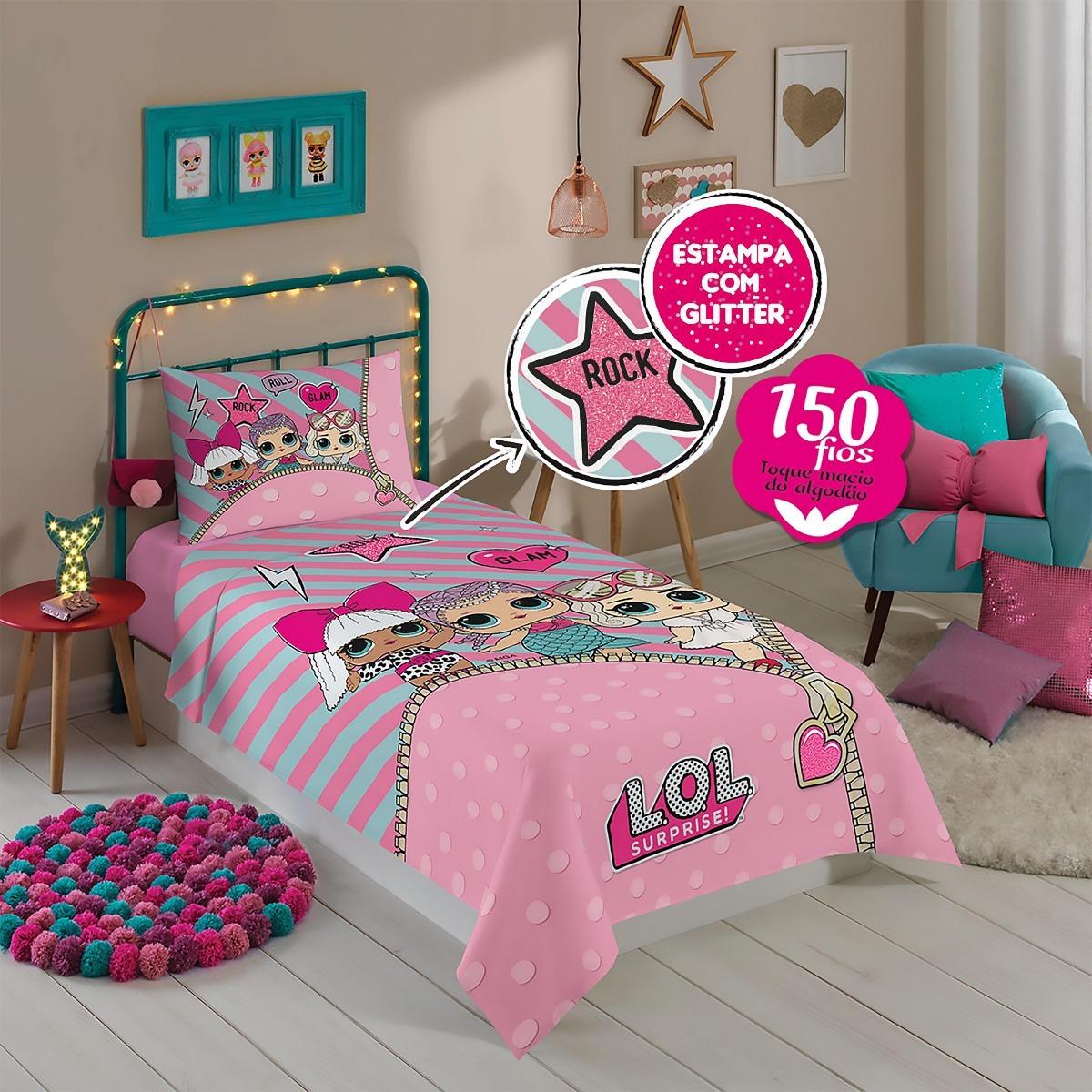 519890c154 jogo de cama solteiro infantil menina lol com 2 peças lepper. Carregando  zoom.