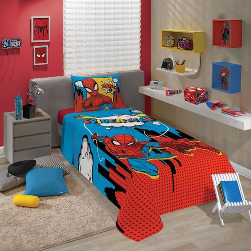 jogo de cama spider man homem aranha 3 peças lepper