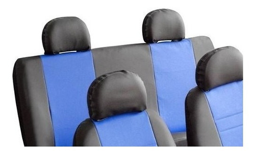 jogo de capas de bancos automotivos couro preto c/ azul