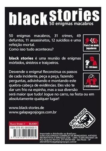 jogo de cartas black stories 1 - galápagos card português