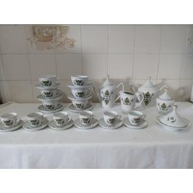 Jogo De Cha E Cafe Em Porcelana Pozzani