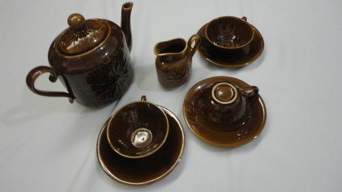jogo de chá marrom - 5 peças