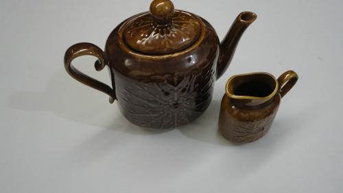jogo de chá marrom - 5 peças (bule, leiteira e 3 xícaras)