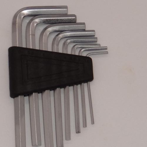 jogo de chave allen em aço carbono 8 peças