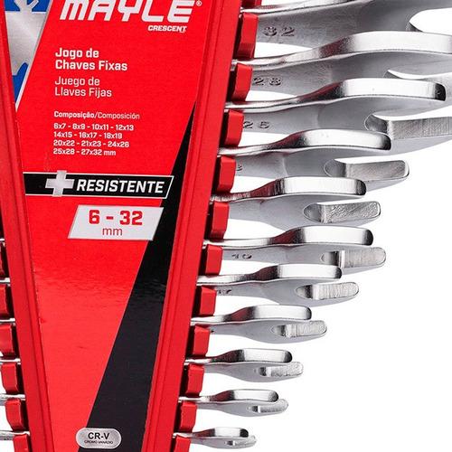 jogo de chave fixa 6 a 32mm 12 peças cromo vanádio mayle