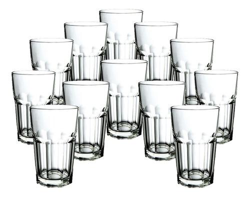 jogo de copos altos dover em vidro 300 ml 12 peças agua suco