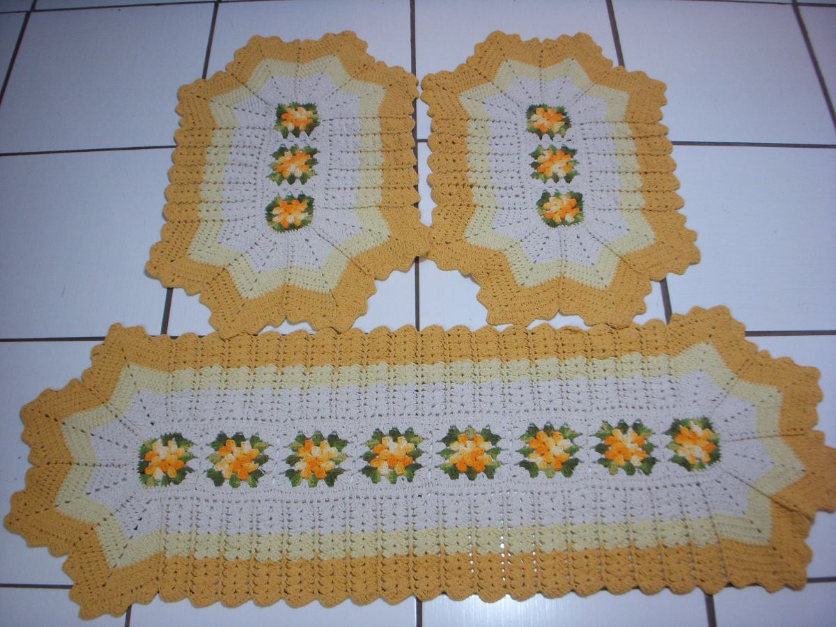 Jogo De Cozinha 4 Pecas Em Croche R 240 00 Em Mercado Livre ~ Como Fazer Conjunto De Cozinha