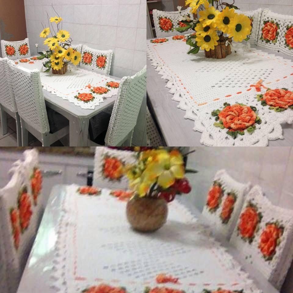 Jogo De Cozinha Caminho De Mesa E Capa De Cadeiras R 590 00 Em  ~ Como Fazer Conjunto De Cozinha