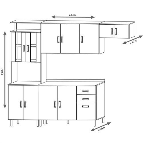 jogo de cozinha completa armários suiça 4 peças - poliman