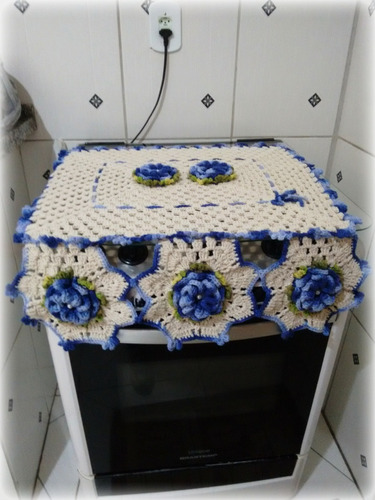 jogo de cozinha em crochê