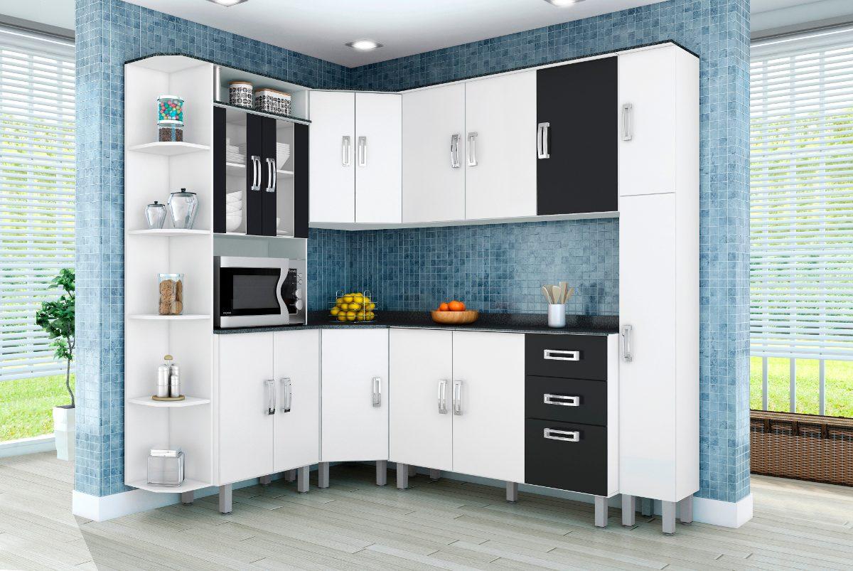 Jogo De Cozinha Modulada Completa 7p S Branco Preto Poliman R