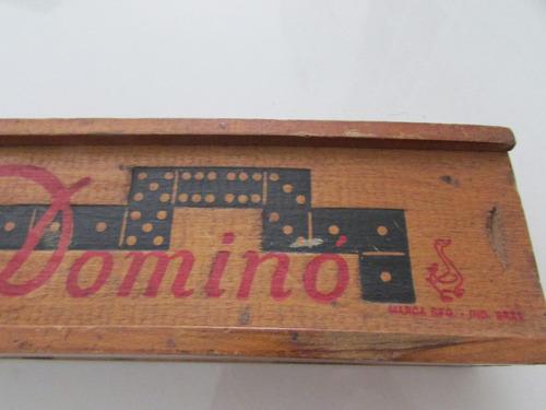 jogo de dominó antigo 28 pç madeira