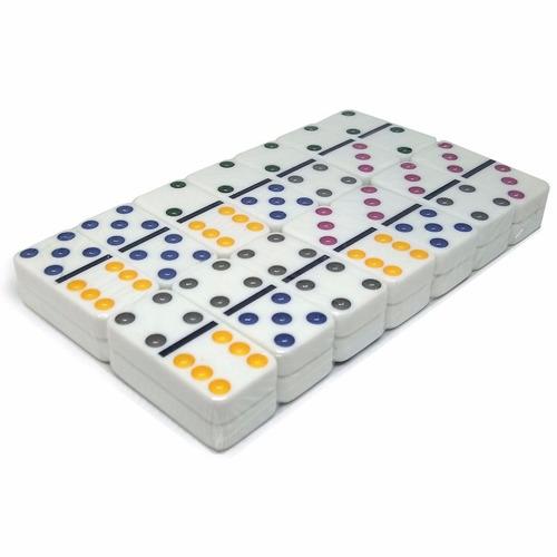 jogo de dominó com ponto colorido tipo osso na lata redstar