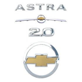 Jogo De Emblemas Gm Astra 2.0 Grade Gravata Dourado 02/10 3m
