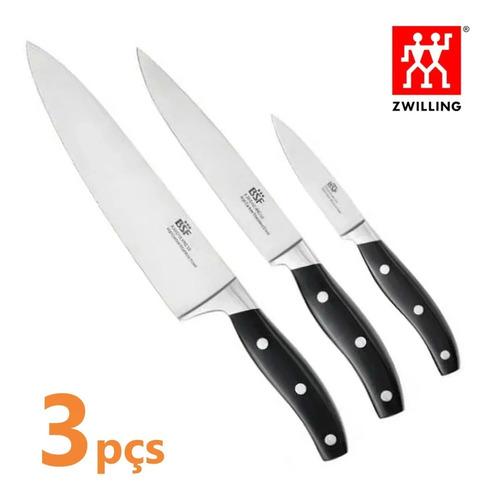 jogo de faca profissional chef em inox 3 peças zwilling