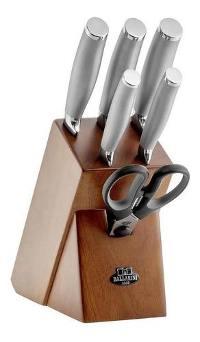 jogo de facas 7pcs cepo em madeira ballarini tanaro zwilling