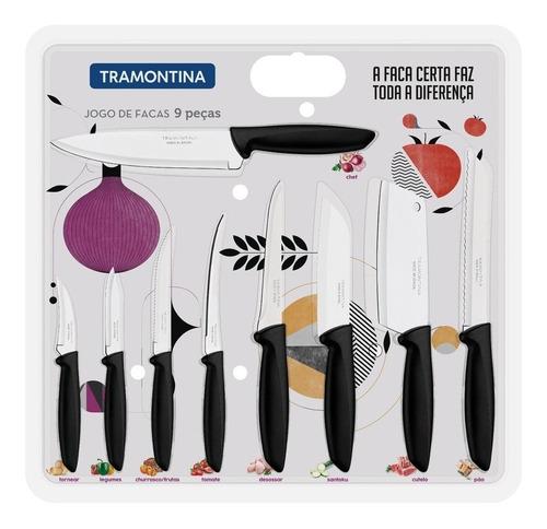 jogo de facas faqueiro aço inox 9 pçs plenus preta 23498048 tramontina