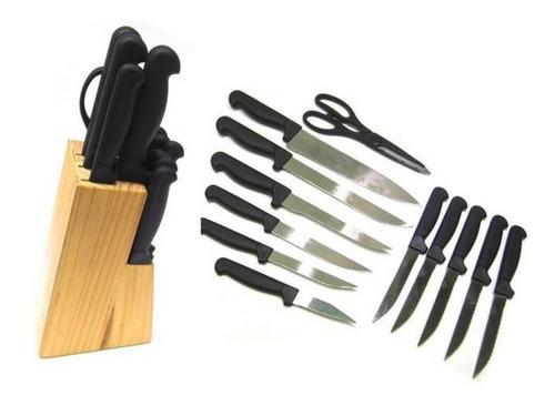 jogo de facas gourmet e churrasco 13 pcs com cepo em madeira e tesoura