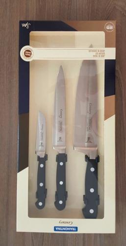jogo de facas profissional chef tramontina century 3 peças