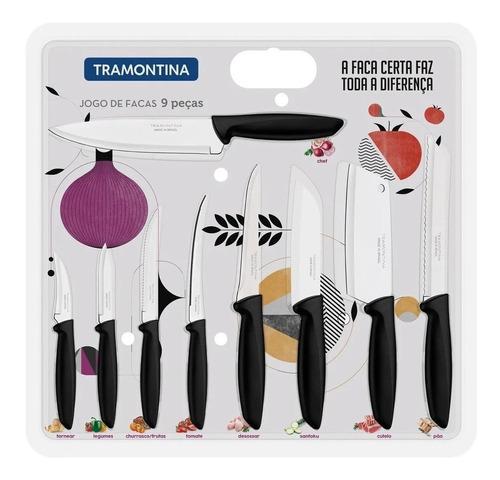 jogo de facas tramontina plenus cozinha aço inox cabo preto