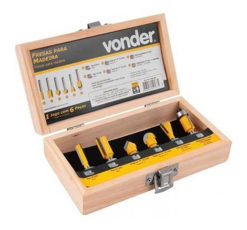 jogo de fresa para madeira tupia 6mm vonder - 6 peças