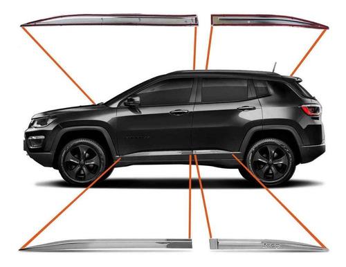 jogo de friso lateral jeep compass 2017 a 2020 cromado