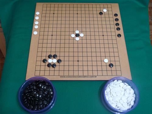 jogo de go oficial tabuleiro/goban 19x19 + pedras/goishi
