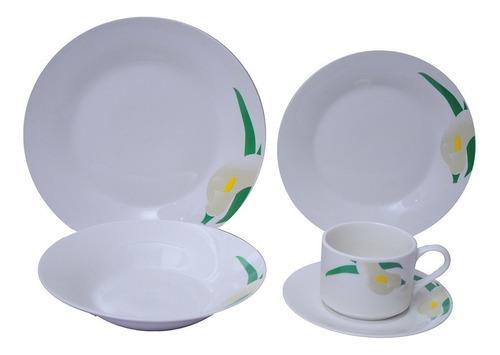 jogo de jantar 20 peças porcelana innova - floral lily 23 cm