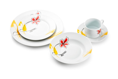 jogo de jantar porcelana 20 peças floral arabesco d184257