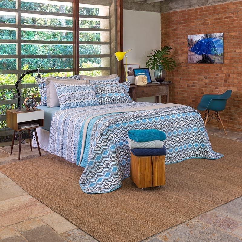 587ae09f0b090a Jogo De Lençol 180 Fios Unique Phuket Casal - Santista Azul