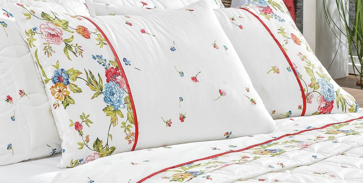 bf25b00954 jogo de lençol cama casal queen size 04 peças fiorella. Carregando zoom.