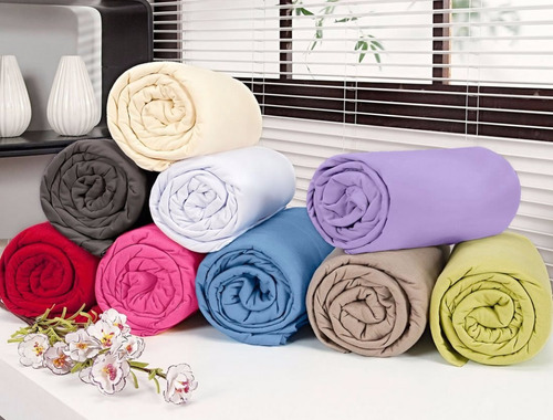 jogo de lençol casal 3 pçs malha penteada 100% algodão