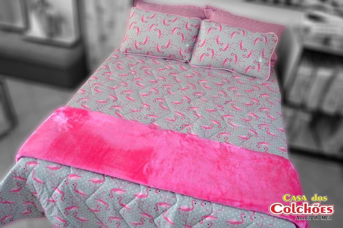 2cc4d375c Carregando zoom... jogo de lençol casal de flamingo