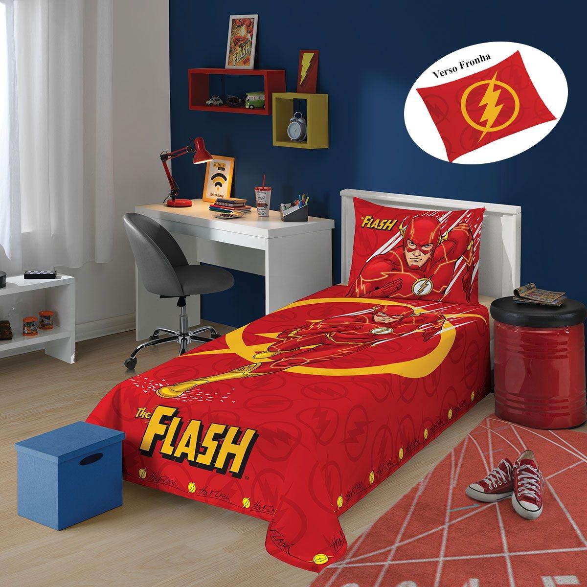 e551ccca2d jogo de lençol infantil flash vermelho super herois lepper. Carregando zoom.