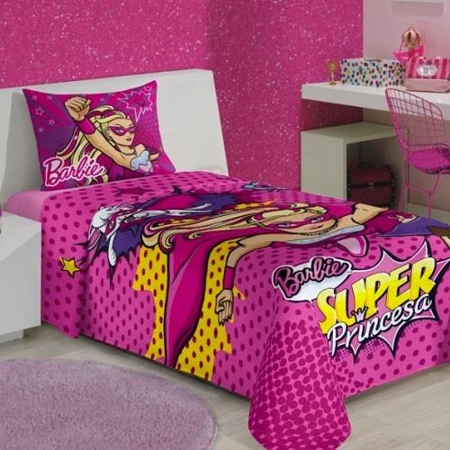 92f772c3d4 Jogo De Lençol Infantil Solteiro Barbie Super Princesa 02 Pe - R ...