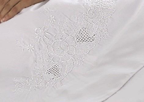 jogo de lençol noiva queen 4 peças bordado percal 150fios