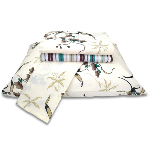 jogo de lençol queen 100% algodão c/ elástico floral 4 peças