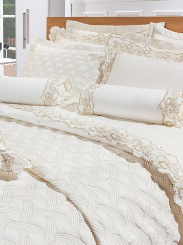 jogo de lençol queen matelado bordado inglês bege marfim
