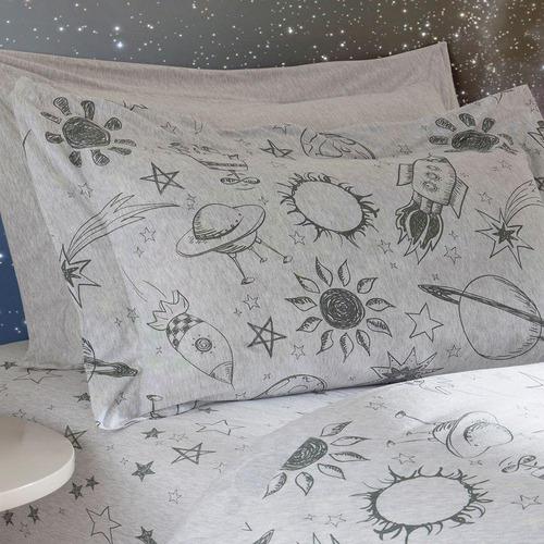 jogo de lençol solteiro em malha espaço naturalle
